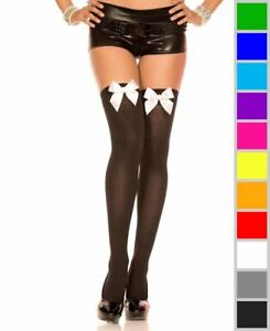 New Music Legs 4742 Opaque Thigh High Stockings With Satin Bow