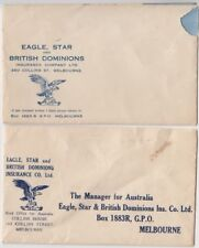 Stamps Australia pair Eagle Star British Dominion insurance advertising covers