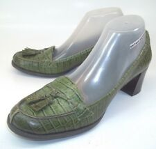 Nine Company Wos Shoes Heels BESTOFALL US10 M Green Leather Snake Embossed 2661