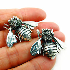 Large Sterling 925 Taxco Silver Bee Stud Earrings