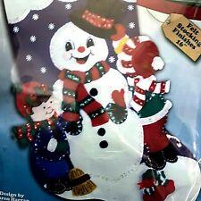 "16"" Design Works Snowman and Children Christmas Stocking Kit 5082 Felt Sequins"