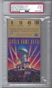 1993 Super Bowl XXVll 27 Ticket Stub Gold Variation PSA 4 VG-EX Cowboys Bills