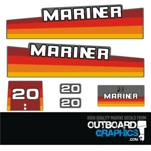 Mariner 20hp rainbow outboard engine decals/sticker kit
