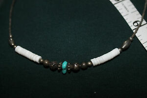 "VINTAGE  17""   NECKLACE   TURQUOISE / Hawaiian   PUKA Shells w  Metal  beads"