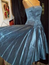 Vintage 1950's Dusty Blue Silk Textured Couture Evening Gown Size Small
