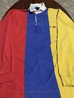 VTG Nautica Sailing Colorblock Thick Mens Long Sleeve Rugby Polo Shirt XL RARE