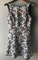 Banana Republic Jaquard Floral Print Skater Dress Black White Neon Trim Sz 4