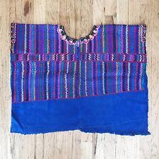 Vintage Guatemala Huipil blue Rainbow Boho Handwoven 70s SMALL