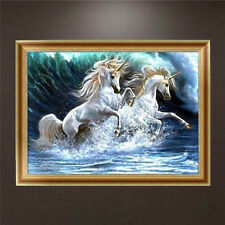 DIY 5D Diamond Embroidery Two Horses Painting Cross Stitch Craft Home Decor