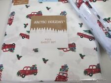 Arctic Holiday White Red Green Christmas Tree Truck Car Sheet Set - Full