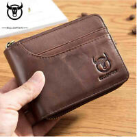 Genuine Leather Wallet Men's Bifold RFID ID Card Holder Front Pocket Purse Brown