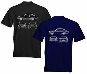 Velocitee Mens T-Shirt Classic Ford Escort Mk2 Rally Blueprint Outline FE06MI