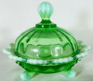 Covered Candy Dish / Berry Bowl - Green Opalescent Glass - Mosser USA