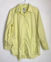 Chicos Size 2 Shirt Yellow Button Up Tunic Long Sleeve Front Pockets Womens L