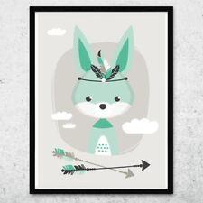 Bild Kunstdruck A4 Tribal Hase mint Kinderzimmer Deko Geschenk