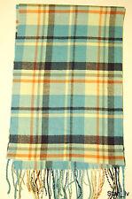 NEW Cashmere Scarf Sky Blue Plaid Checks Red Stripes Soft Warm Men Women C4