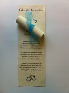 100 Personalised Wedding Favour Scrolls on PARCHMARQUE paper with organza ribbon