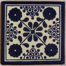 C037) 9 Clay Handcrafted Mexican Talavera Tile
