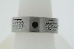 JOE Joseph Abboud Stainless Steel Black Screw Inlaid Triple Cable 8mm Band Ring
