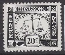 HONG KONG SGD26a 1978 20c GREY-BLACK CHALK SURFACED PAPER MNH