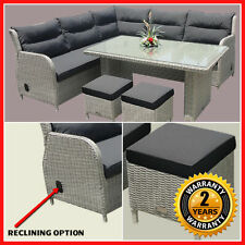 NEW! Wicker Reclining 4 Piece Outdoor Furniture Set Table Corner Lounge Setting
