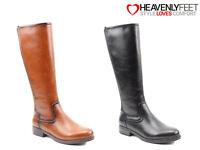 Ladies Tall Riding Boots Heavenly Feet Comfort Zip Elastic Knee High Memory Foam