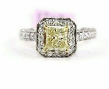 2.07Ct Natural Fancy Yellow Princess Cut Diamond Solitaire Ring 14k White Gold