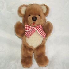 "Dakin Baby Things Brown Beige Bear Red Gingham Check Bow 11"" Plush Vtg 1982"