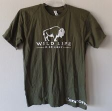 Alstyle Womens Medium Army Green Wild Life Distillery Canmore AB Tee Shirt Top