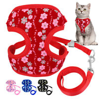 Cat Walking Jacket Harness&Lead Escape Proof Pet Puppy Dog Clothes Mesh Vest S L