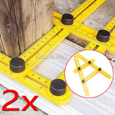 2x Winkel Zollstock Winkelmesser vierseitig Lineal Winkelschablone Wasserwaage