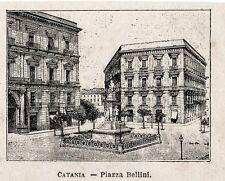 Stampa antica CATANIA minuscola veduta Piazza Bellini Sicilia 1896 Old Print