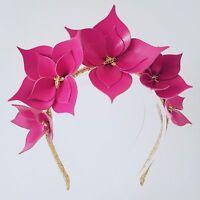 Raspberry Pink & Gold Leather Crown,Headband,  Wedding Fascinator