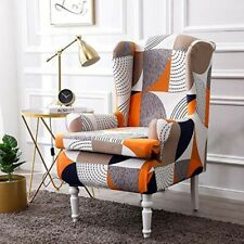 RETRO GEOMETRIC PATTERN ORANGE/GREY/WHITE WING BACK ARMCHAIR STRETCH COVER. NEW