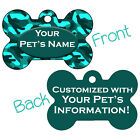 Turquoise Camo Double Sided Pet Id Dog Tag Personalized for Your Pet