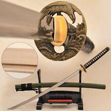 Japanese Samurai Eagle Sword Katana Leather Tsuka Ito Folded Steel Blade Sharp