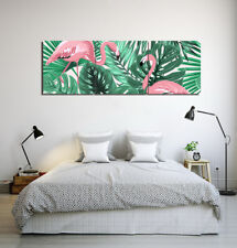 Canvas Print Art Oil Painting Tropical Leaves & Flamingo Wall Decor No Frame