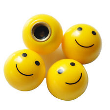4 x Yellow Happy Smiling Smiley Face Wheel Tyre Valve Stem Caps Covers For SUV