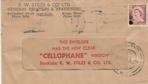 Stamp 1956 New Zealand 2d QE2 surcharge on R.W Stiles Nelson advertising cover