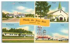 Mid-1900s Moody Air Force Base Chapel, Hospital, Tower, HQ Valdosta, GA Postcard
