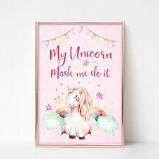 My Unicorn Made Me Do It Wall Art Print, Nursery Picture, Unframed, Girls Room