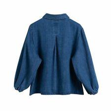Cute Women Girl Denim Blouse Shirt Top Coat Puff Sleeve Casual Retro Loose