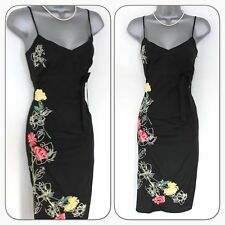 Karen Millen Black Silk Floral Embroidered Evening Cocktail Pencil Dress Size 8