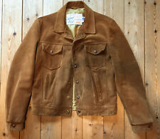 Vintage SCHOTT SUEDE TRUCKER  JACKET 42 Kenny Rogers Western Rancher MADE in USA