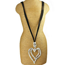 Large chunky silver double heart pendant CZ black leather suede long necklace