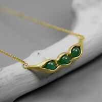 Unique Gemstone 18K Gold Pea Pods Necklace for Women  Solid 925 Silver Jewelry