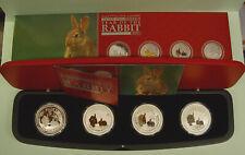Australien 4 x $ 1 Typeset Lunar II Hase Year of the Rabbit 2011 COA+Box
