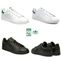 Adidas Originals Men's STAN SMITH Trainers Leather Black White Tennis Shoes UK