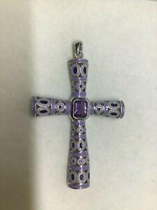 Huge Sterling Silver Amethyst Cross PENDANT Purple ENAMEL 72mm long Fabulous