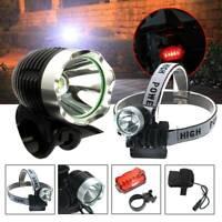 Head Torch Mountain Bike Front Lamp Waterproof LED Rechargeable Light Flashlight